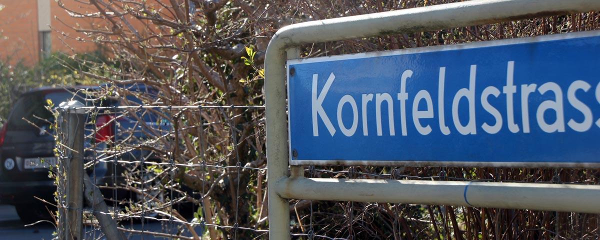 Kornfeldstrasse im Frühling